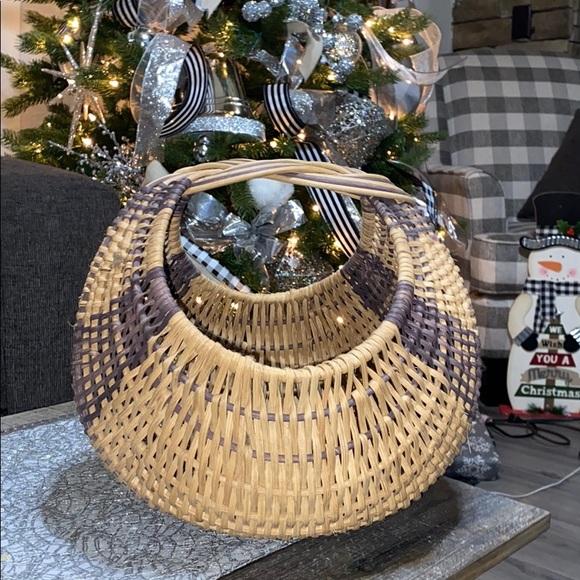 Vintage wicker basket. Boho decor